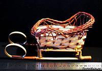 Саночки из лозы декоративные, 20 см.