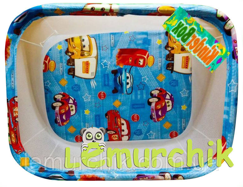 Манеж детский с мелкой сеткой Kinderbox Тачки
