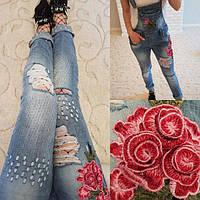 Женский стильный джинсовый комбинезон с вышивкой 1280