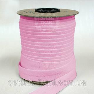 Косая бейка из хлопка розового цвета 18 мм.