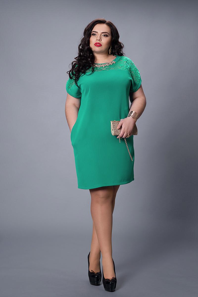 Стильное женское платье бирюзового цвета