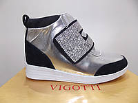 Женские весенне-осенние ботинки сникерсы Kors Vigotti 31830 серебро