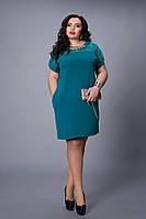 Стильное женское платье цвета морской волны