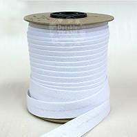 Косая бейка из хлопка белого цвета 18 мм.
