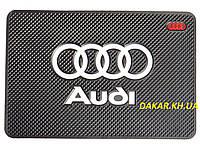 Антискользящий силиконовый коврик на торпедо с логотипом Audi v2 Ауди