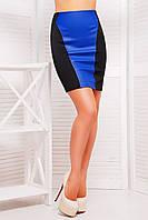 Модная женская юбка дайвинг+экокожа р.46