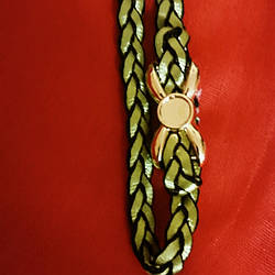 Греческая повязка зелёного цвета с бантом