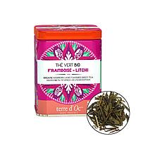 Органічний зелений чай з ароматом малини і лічі,40г , Terre d'oc