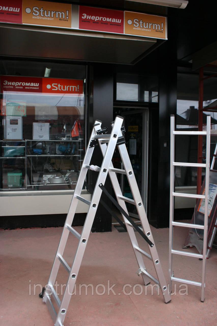 Лестница алюминевая 3-х секционная на 6 ступеней Тритон