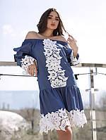Джинсовое летнее платье с белым кружевом