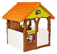 Домик детский игровой Маша и Медведь Smoby - Франция - цветочные горшки и имитация кирпича, дерева