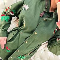 Пальто Вышивка Коттон Парка Модная Ветровка Оригинальная Плащ