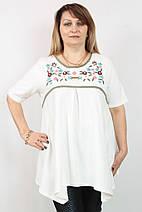 """Туника  """"Вышивка"""" 50-60рр, пр- во Турция, большие размеры, белый, фото 2"""