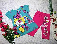 Летний костюмчик с бриджами и футболочкой  для девочки от 1 до 5лет