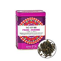 Органічний зелений чай з ароматом полуниці і ревеню,50г , Terre d'oc