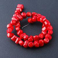 Бусины натуральный Коралл  красный галтовка рубка попереч. d-8-10мм L-40см нитка    №6