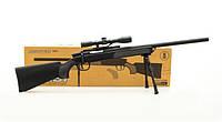 Игрушечная снайперская винтовка ZM51 на пульках, сошки, оптический прицел, поворотний затвор, детское оружие, фото 1