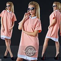 Платье-рубашка с белым воротничком свободного силуэта