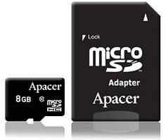 Карта памяти miroSD 8GB Kingston, Apacer, Sillicon Power Class 10