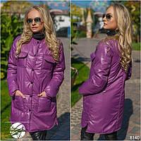 Синтепоновая куртка пальто на кнопках с накладными карманами