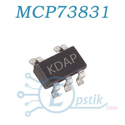 MCP73831T5, (KDAP), (LTC4054), контроллер питания Li-Ion/Li-Pol 15mA to 500mA 4.2V, SOT23-5