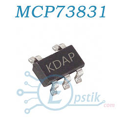 MCP73831T5ACIOT (KDAP), (LTC4054), Контроллер питания Li-Ion/Li-Pol 15mA to 500mA 4.2V, SOT23-5