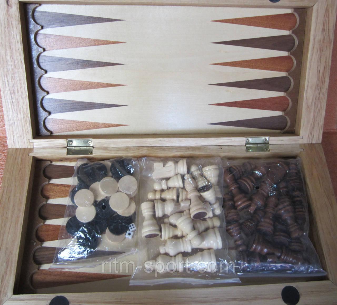 Набор 3 в 1 шахматы, шашки, нарды (доска 30 х 30 см)