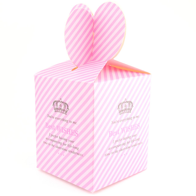 Бонбоньерка розовая в полоску Best Wishes