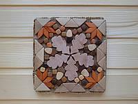 """Можжевеловые подставки квадратной формы 15 см, """"Дубовые листья"""""""