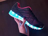 Кроссовки светящиеся женские. LED кроссовки ЭКО кожа, подошва каучук. Турция