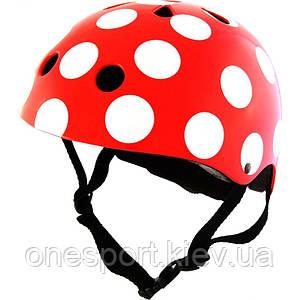 Шлем детский Kiddi Moto красный в белый горошек, размер M 53-58см + сертификат на 50 грн в подарок (код 155-227331)
