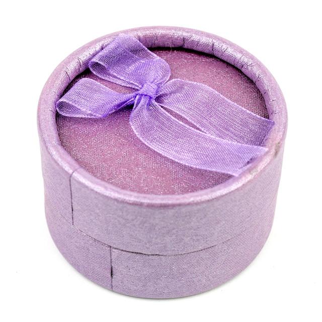 Круглая коробочка для кольца сиреневая 5 х 5 см