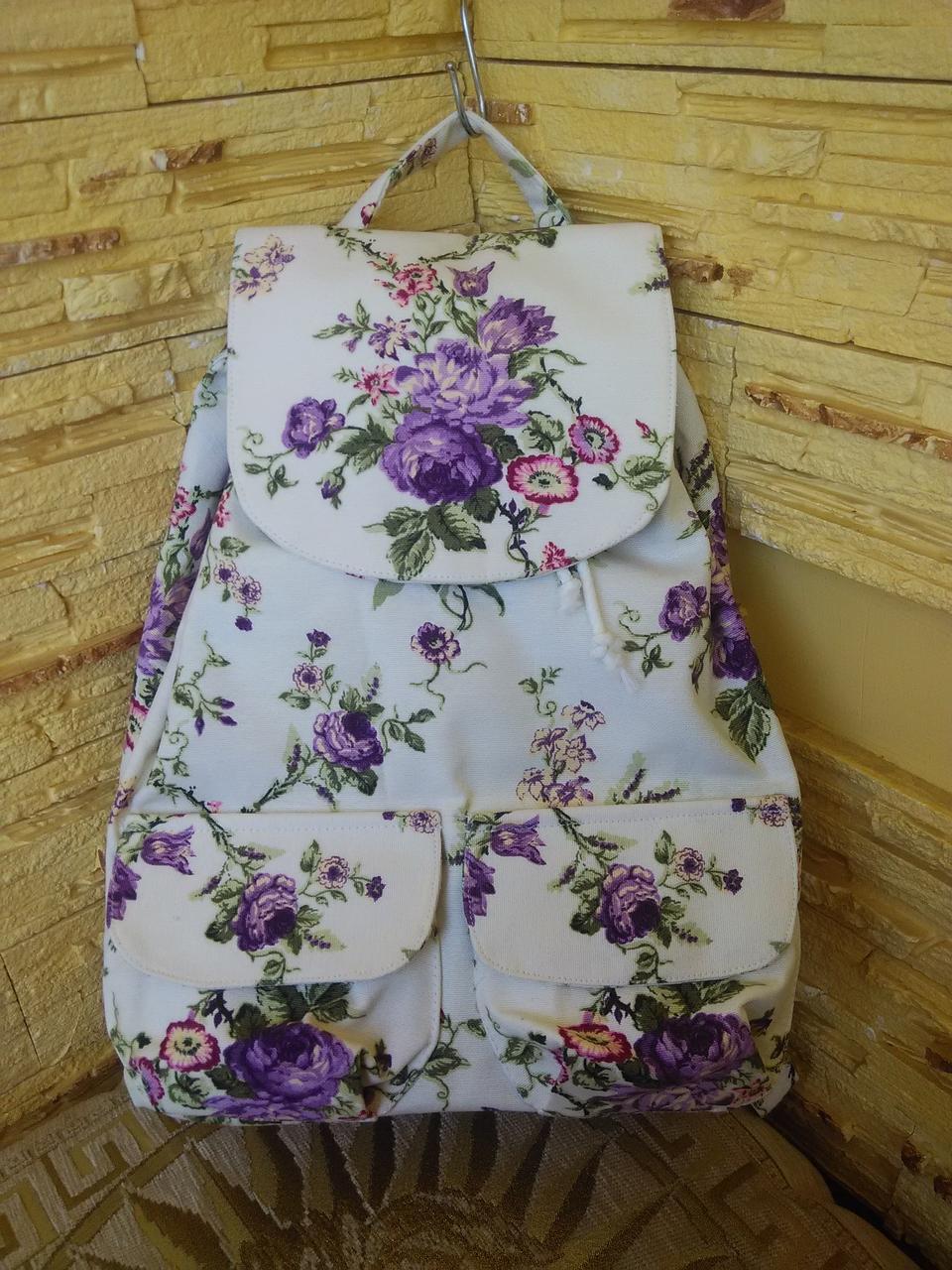 """Рюкзак  женский  из ткани ручной работы  """"Маленькие сиреневые розочки"""""""