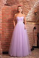 Выпускное нежно-фиолетовое платье с корсетом и пышной юбкой