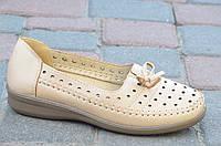 Мокасины, туфли женские летние беж качественная искусственная кожа. Топ