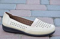 Мокасины, туфли женские летние светлый беж удобные мягкие. Топ