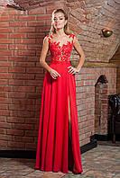 Красное выпускное платье с открытой спиной