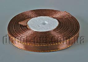 Лента атласная с люрексом темно-кофейная  1,0 см 36ярд 31