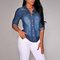 Джинсовая рубашка, джинсовая рубашка с длинным рукавом, женская джинсовая рубашка, жіноча джинсова рубашка