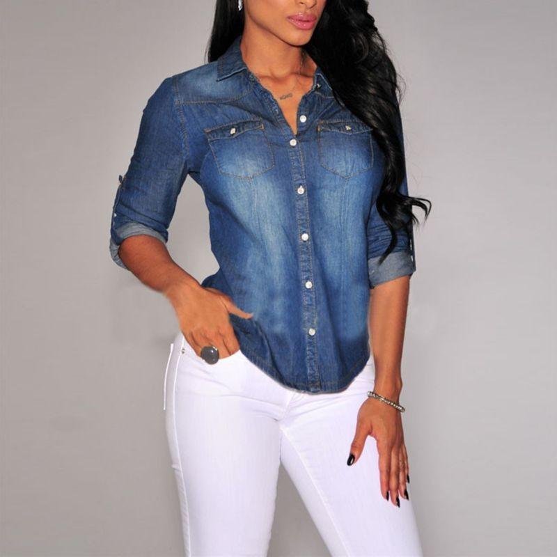 289e0fca795 Джинсовая рубашка с длинным рукавом - V-grupe - Интернет-магазин в Луцке