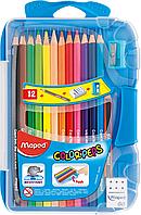 Цветные карандаши COLOR PEPS Smart Box, 12 цветов +3 изделия, пенал  Maped MP.832032 (MP.832032 x 124213)