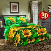Ткань для постельного белья, бязь (хлопок) Желтые ромашки 3Д