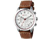 Мужские часы CURREN 8152 кварцевые коричневый ремешок корпус металлический белый циферблат