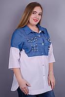 Джаз. Женская рубашка больших размеров. Белый.