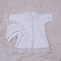 Крестильная рубашка для девочки с шапочкой Brilliant Baby Анна р.68 молочный айвори