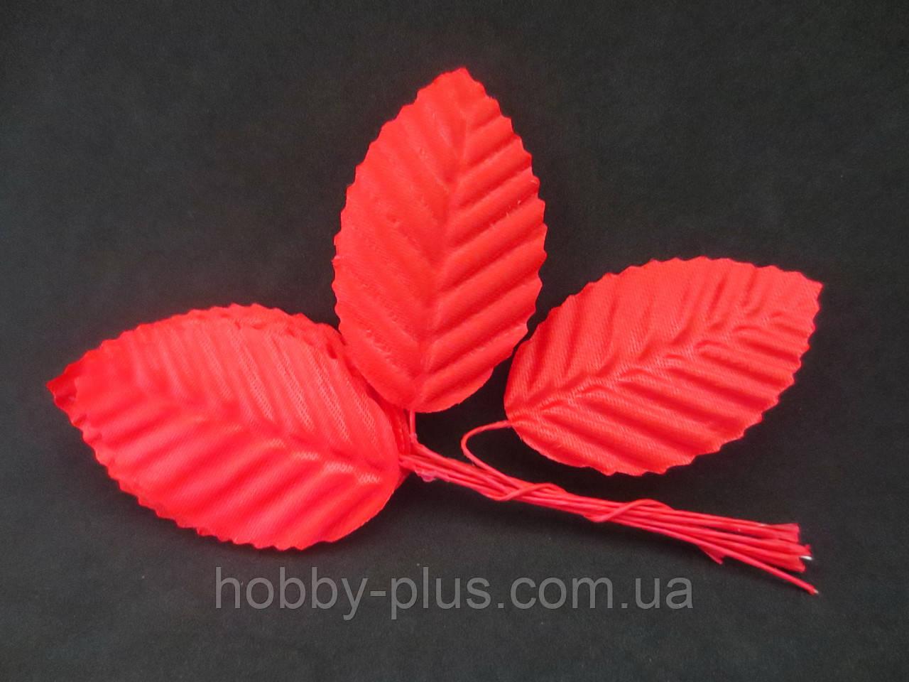 Декоративные листики из ткани, КРАСНЫЙ, 10 шт.