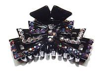 Заколка для волос краб, черный, серые и синий хамелеон стразы 144_4_87a1