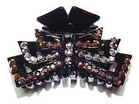 Заколка для волос краб, черный, серый и коричневый хамелеон стразы  144_4_87a3