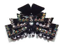 Заколка для волос краб, черный, серый и зеленый хамелеон стразы  144_4_87a2