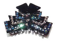 Заколка для волос краб, черный, серый и синий хамелеон стразы  144_4_87a4
